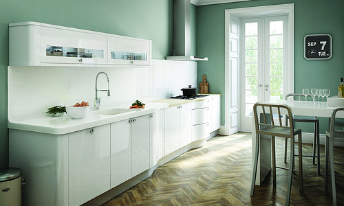 White kitchen cabinets are a perfect choice for a variety of kitchens | Home Art Tile Kitchen and Bath