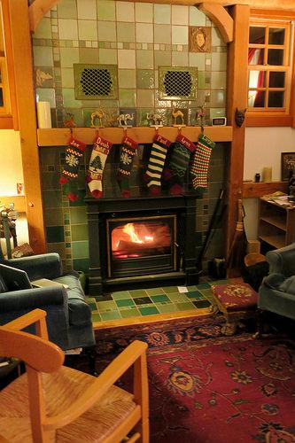 How to use ceramic tile around fireplace