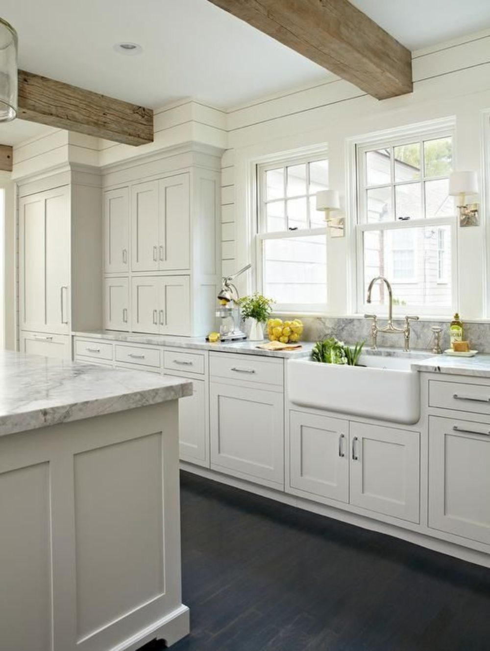 White shaker cabinets discount trendy in queens ny for White farm kitchen