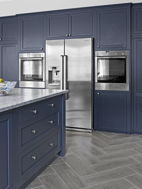 Navy Gray Painted Kitchen Cabinet