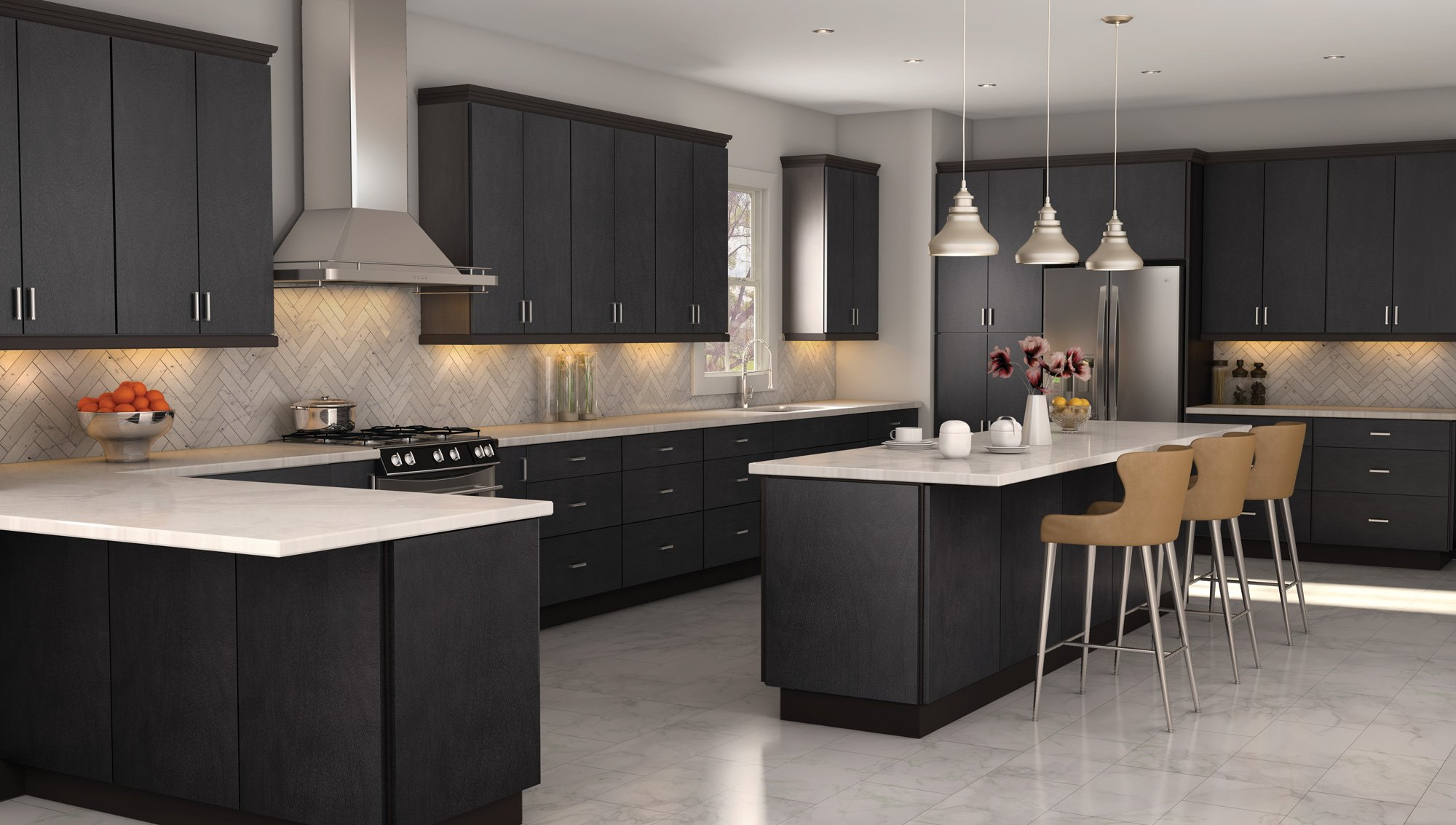 Milan Shale Dark Gray Kitchen Cabinets