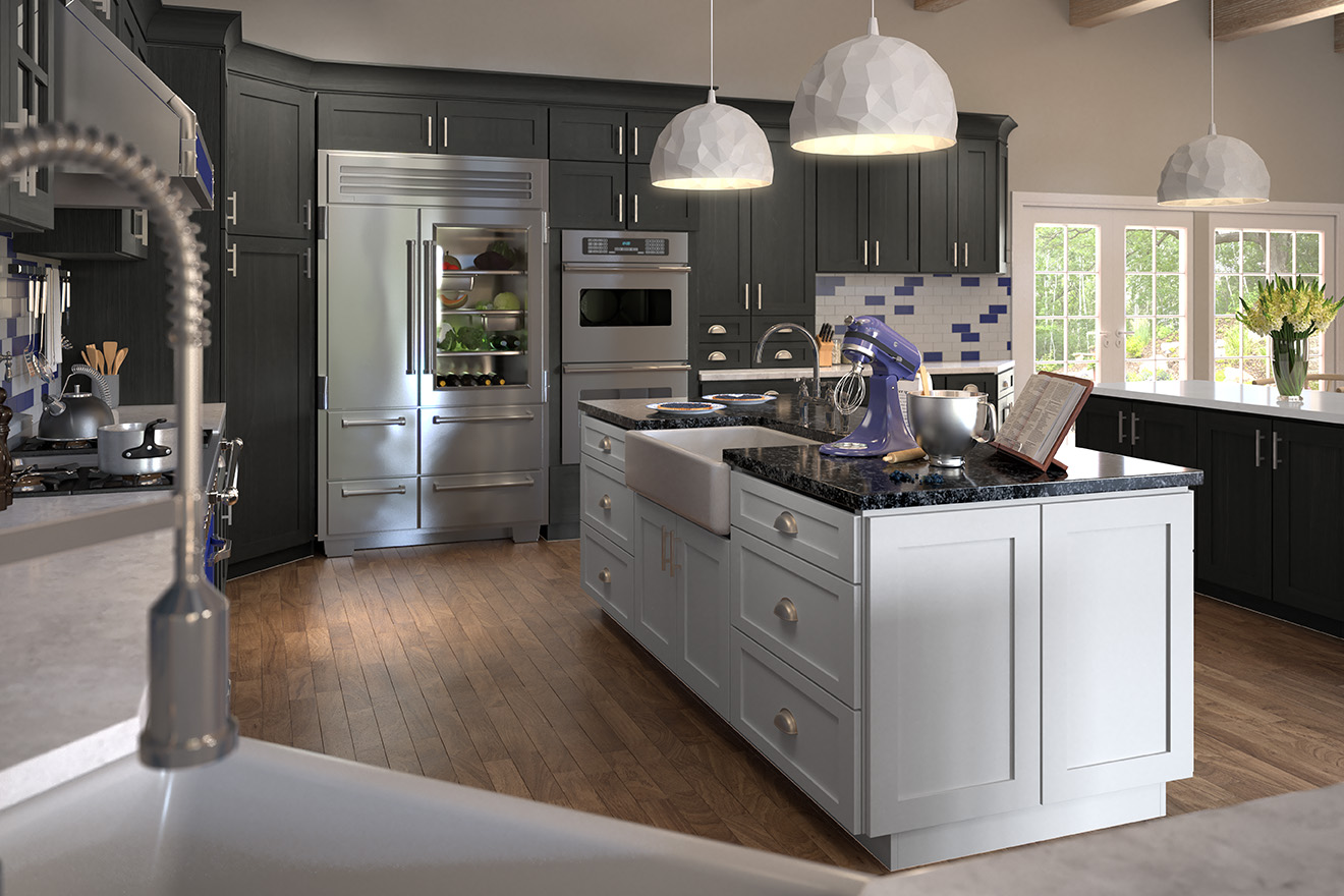 Best Gray Kitchen Cabinet Color Greystone Shaker Style Cabinets by Forevermark Home Art Tile Kitchen & Bath Queens NY