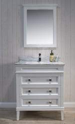Bordeux 30-Inch Matte White – White Carrara Marble