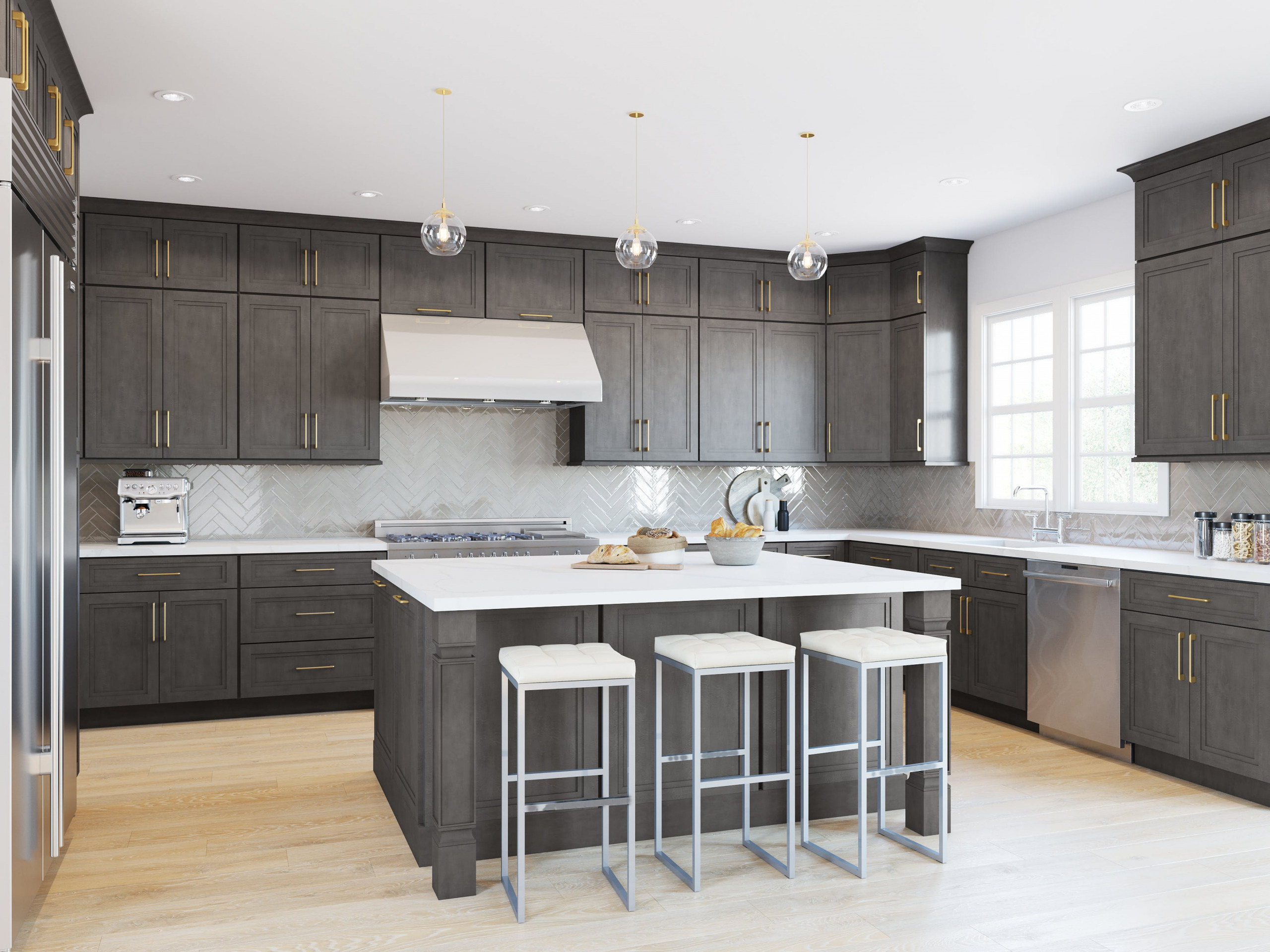 Gray Kitchen Cabinets   Home Art Tile Kitchen and Bath